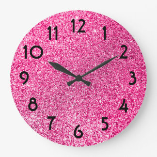 Pretty Pink Glitter Photo Large Clock