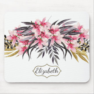 Pretty Pink & Gold Magnolia Personalized Mouse Mat