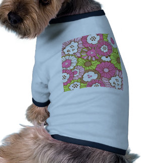 Pretty Pink Green Flowers Spring Floral Pattern Pet Tee Shirt