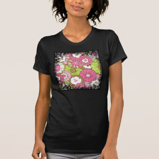 Pretty Pink Green Flowers Spring Floral Pattern Tee Shirts