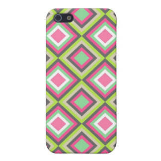 Pretty Pink Green Gray Diamonds Square Pattern iPhone 5/5S Cover