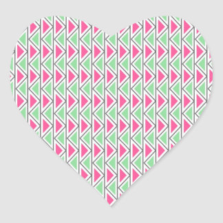 Pretty Pink Green Gray Triangle Tribal Pattern Heart Sticker