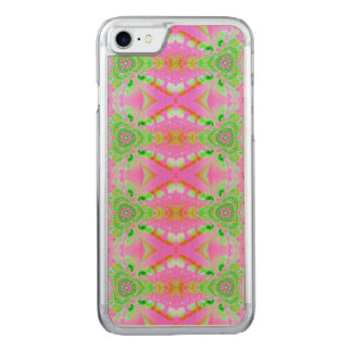 Pretty pink green jewel fractal pattern carved iPhone 7 case