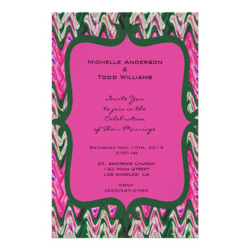 Pretty Pink Green Modern Wedding Flyer