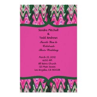 Pretty Pink Green Modern Wedding Customized Stationery