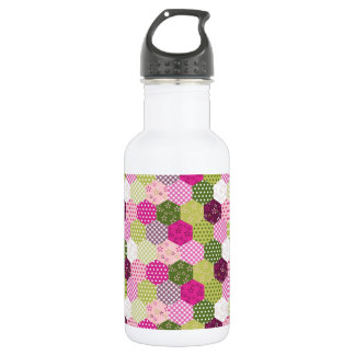 Pretty Pink Green Mulberry Patchwork Quilt Design 532 Ml Water Bottle