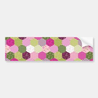 Pretty Pink Green Mulberry Patchwork Quilt Design Bumper Sticker