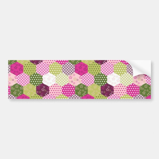 Pretty Pink Green Mulberry Patchwork Quilt Design Bumper Stickers