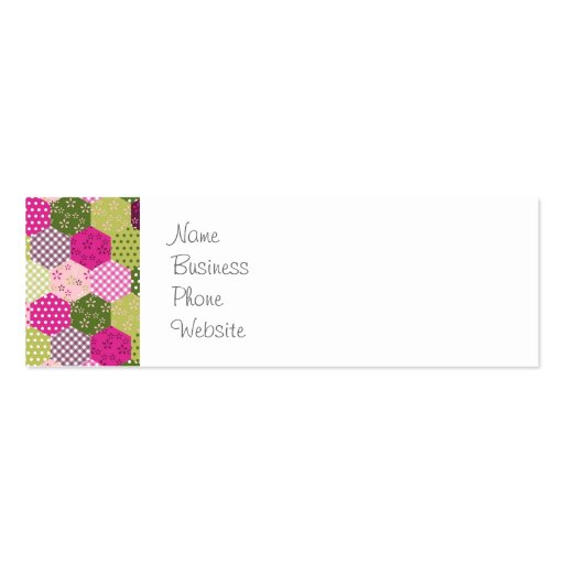 pretty pink green mulberry patchwork quilt design business card template. Black Bedroom Furniture Sets. Home Design Ideas