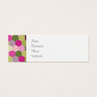 Pretty Pink Green Mulberry Patchwork Quilt Design Mini Business Card