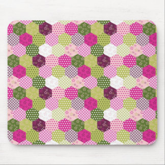 Pretty Pink Green Mulberry Patchwork Quilt Design Mouse Mat
