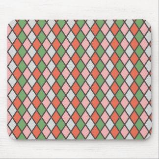 Pretty Pink Green Orange Argyle Diamond Pattern Mouse Pad