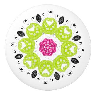 Pretty Pink Green Paisley Floral Motif Ceramic Knob