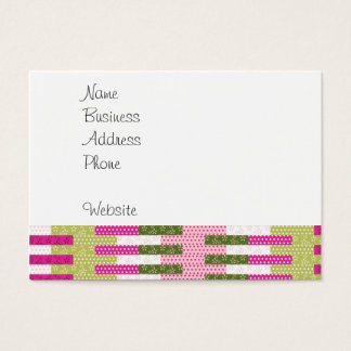 Pretty Pink Green Patchwork Quilt Design Gifts Business Card