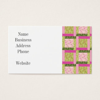 Pretty Pink Green Patchwork Squares Quilt Pattern Business Card