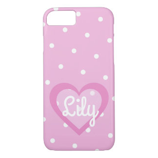 Pretty Pink Heart Customisable iPhone 7 Case