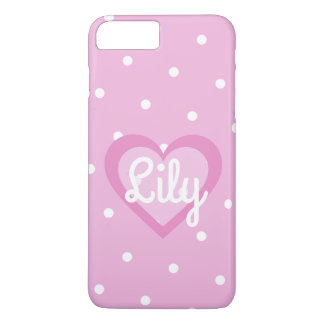 Pretty Pink Heart Customisable iPhone 7+ Case