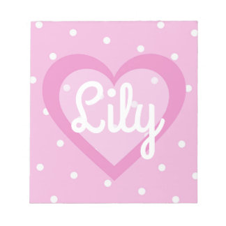 Pretty Pink Heart Customisable Notepad