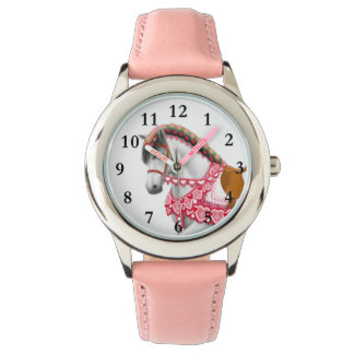 Pretty Pink Heart Parade Horse Kids Watch