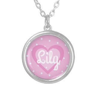 Pretty Pink Heart Round Pendant Necklace