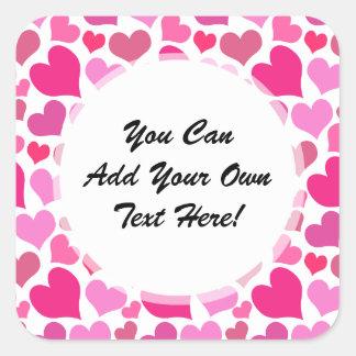 Pretty Pink Hearts for Bachelorette or Bride Square Sticker