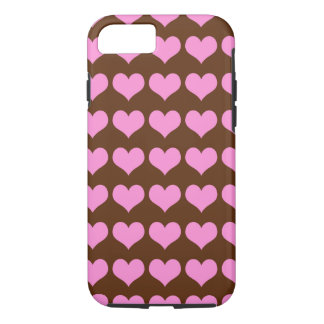 Pretty Pink Hearts Pattern on Chocolate iPhone 8/7 Case