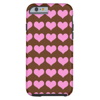 Pretty Pink Hearts Pattern on Chocolate Tough iPhone 6 Case
