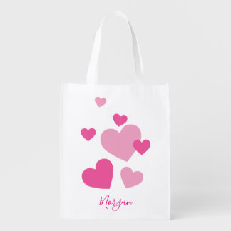 Pretty Pink Hearts Reusable Grocery Bag