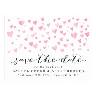 Pretty Pink Hearts Save the Date Postcard