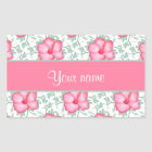Pretty Pink Hibiscus Flowers Rectangular Sticker