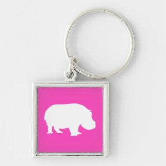 Pretty Pink Hippo Silhouette Silver-Colored Square Key Ring