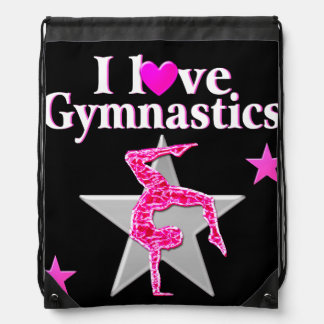 PRETTY PINK I LOVE GYMNASTICS DESIGN DRAWSTRING BAG
