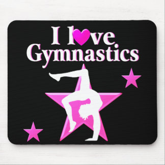 PRETTY PINK I LOVE GYMNASTICS DESIGN MOUSE MAT