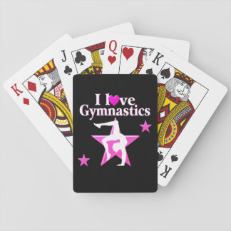 PRETTY PINK I LOVE GYMNASTICS DESIGN POKER CARDS