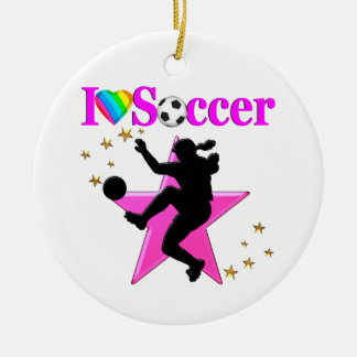 PRETTY PINK I LOVE SOCCER DESIGN ROUND CERAMIC DECORATION