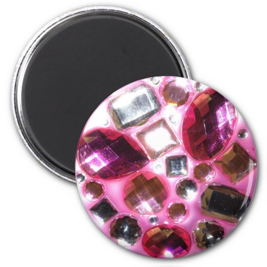 Pretty Pink Jewel Bling 6 Cm Round Magnet