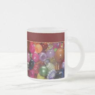 Pretty Pink Jewelry Beads Frosted Glass Mug