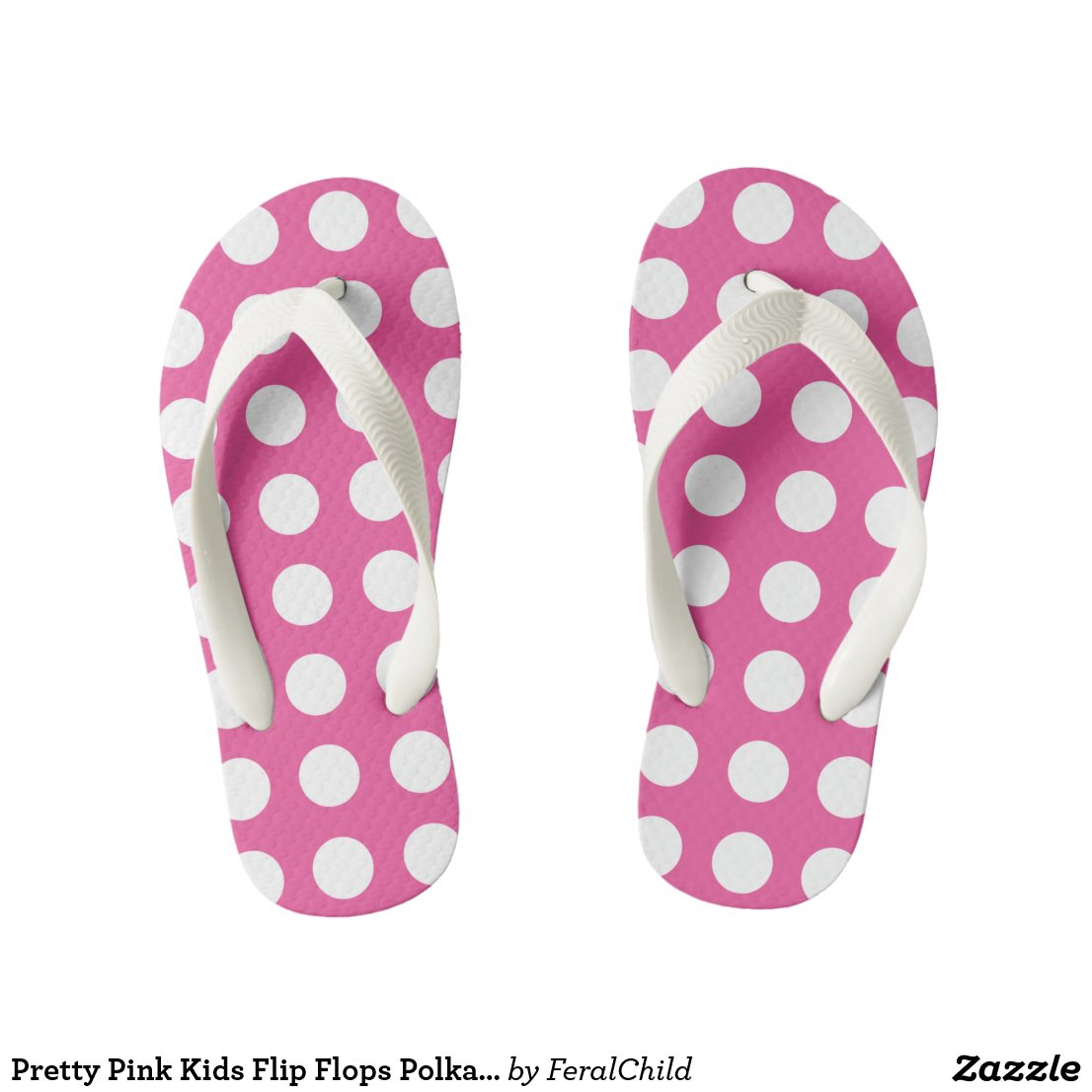 Pretty Pink Kids Flip Flops Polka Dot