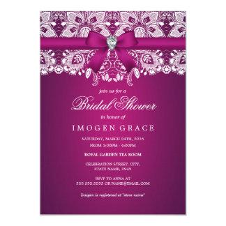 Pretty Pink Lace & Diamond Bow Bridal Shower Card