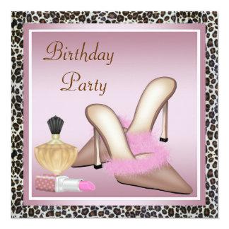 Pretty Pink Leopard Birthday Party 13 Cm X 13 Cm Square Invitation Card