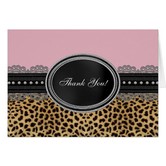 Pretty Pink Leopard Thank You Cards