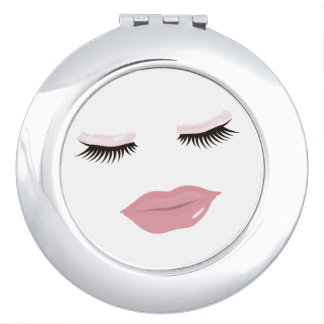 Pretty Pink Lips Round Compact Mirror