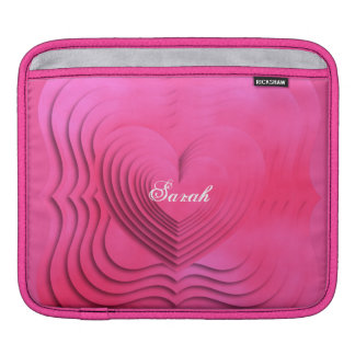 Pretty Pink Love Heart 3D Design iPad Sleeve