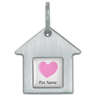 Pretty Pink Love Heart. Pet ID Tag