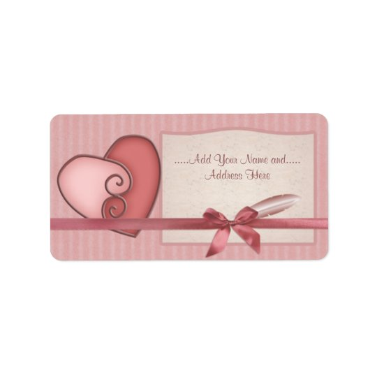 Pretty Pink Loveheart and Bow Striped Labels