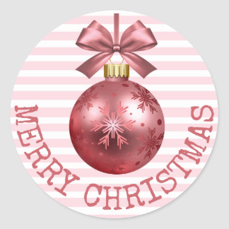 Pretty Pink Merry Christmas Ornament Stickers