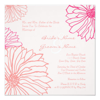 Pretty Pink Mum Flowers Wedding Invitation