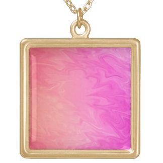 pretty pink orange background square pendant necklace