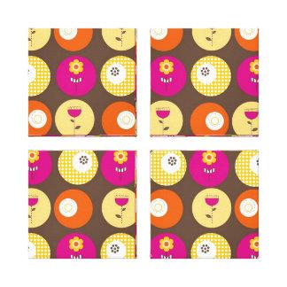 Pretty Pink Orange Yellow Flowers Polka Dot Print Gallery Wrapped Canvas