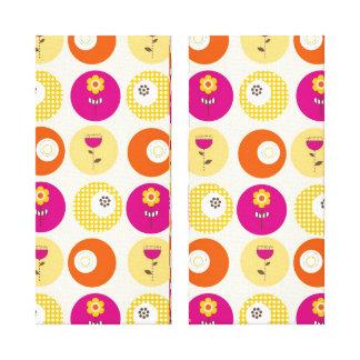 Pretty Pink Orange Yellow Flowers Polka Dot Print Canvas Print